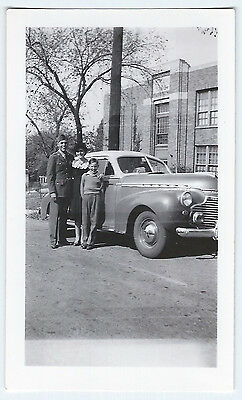 Vintage Photo Snapshot 1943 Smiling SOLDIER Woman Boy With 1941 CHEVROLET Ex [a