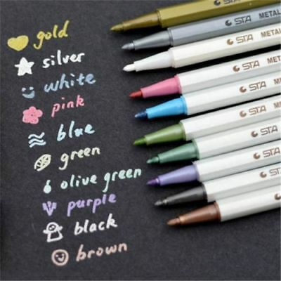 10Pcs Metallic Pencil Set Marker Album Dauber Sketch Water Color Marker Pens DIY