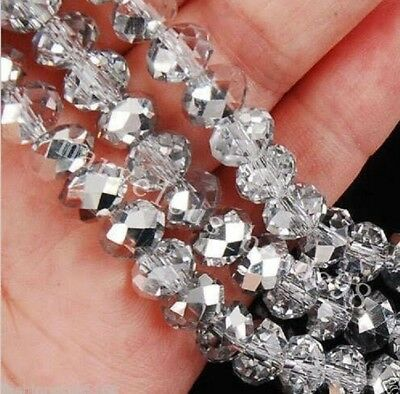 Cute 100pcs 6x4mm Crystal glass Loose Beads silver AB FREE SHIPPING