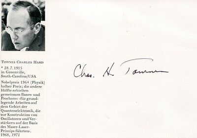 Charles H. Townes autograph NOBEL PRIZE Physics 1964, signed card