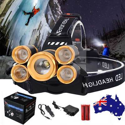 80000LM 5X CREE T6 LED Headlamp Rechargeable Camping Headlight Head lamp Torch