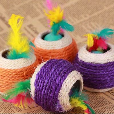Cat Pet Colorful Sisal Rope Chase Feather Ball Cute Kitten Play Exercise Toy#