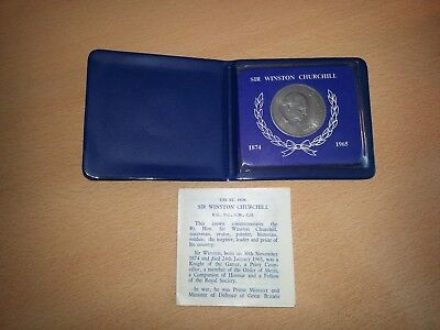 Sir Winston Churchill 1874-1965 commemorative crown coin in case