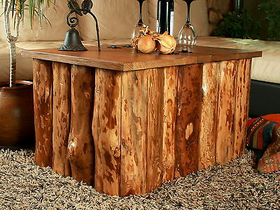 Vintage Rustic Wooden Tree Face Cottage Style Storage Coffee Table Chest Trunk