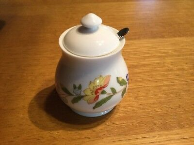 Aynsley Cottage Garden Covered Mustard Pot & Sterling Silver Spoon