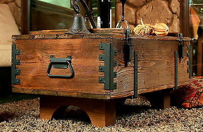 Old Travel Trunk Coffee Table Cottage Wooden Pine Chest Vintage Blanket Box