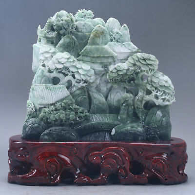 Exquisite 100% Natural DUSHAN Jade Hand Carved tree & Man Statue D112
