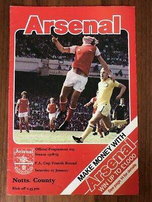 Arsenal V Notts County Football Programme 1978-1979. Arsenal Football Program