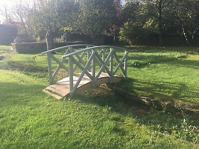 Rustic, Shabby Chic, Wooden Solid High Rail Garden Bridge, Pond, River or Stream