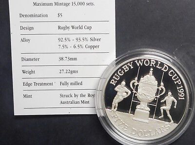 New Zealand 1991 Rugby World Cup   $5 Silver Proof