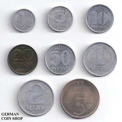 East Germany DDR - Set 1, 5, 10, 20, 50 Pfennig, 1, 2, 5 Mark 1958 - 1990