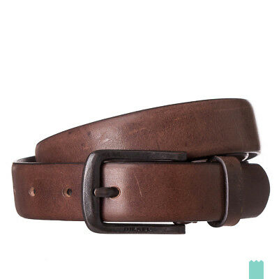RRP €55 DIESEL Size 105 / 42 BIMITIA Brown Smooth 100% Leather Pin Buckle Belt