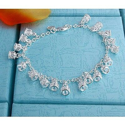 NEW P&P LADY GIRL SOLID 925 Silver Jewelry Pretty Bells Chain Bracelet Bangle