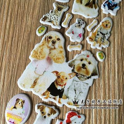 3 PCS puffy stickers lot for children Stereoscopic toys pet dog- kids Gifts C78