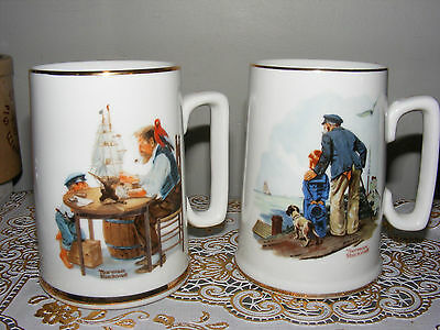 Two Norman Rockwell Coffee Mugs Cups 1985 Looking out to sea For a Good Boy S4C1