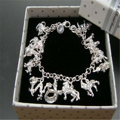 Girl 925 Solid Silver jewelry tag 12 Animals Charm Bracelet bangle