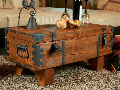 Old Travel Trunk Coffee Table Cottage Steamer Pine Chest Vintage Blanket Box