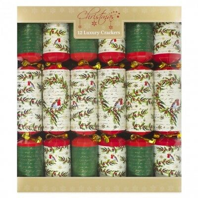 Pack of 12 Luxury Christmas Crackers Tableware Dinner Robbin Traditional