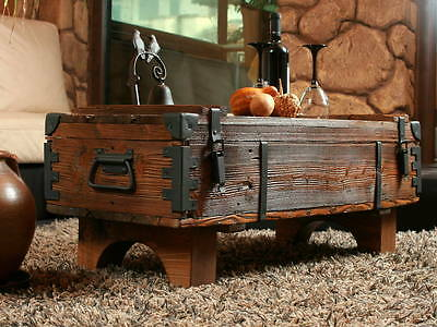 Old Travel Trunk Coffee Table Cottage Steamer Pine Chest Vintage Blanket Box 16