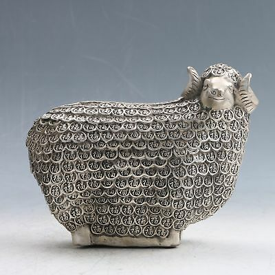 Tibetan Silver Handwork Carved Longevity Sheep Statue PC0147