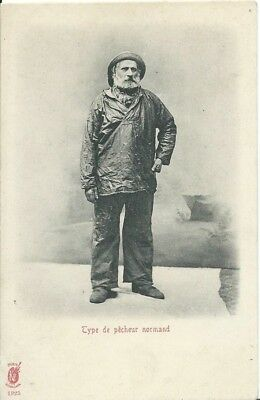 France, Type De Pecheur Normand (Normandy Fisherman), Black And White Postcard
