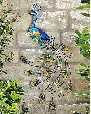 Wall Art Outdoor Metal Garden Peacock Multicolore Pretty New In Box Large
