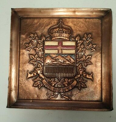 """Vintage """"alberta Provincial Coat Of Arms"""" 16 X 16 Inch Embossed  Copper Tile"""