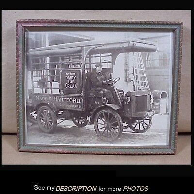 Antique Circa 1905-10 Framed Photograph New Haven Dairy Ice Cream Truck