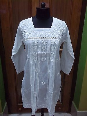 "M 40"" L 42"" Ethnic 100% Cotton Blouse Handmade Chikan Embroidery Top Tunic Kurta"