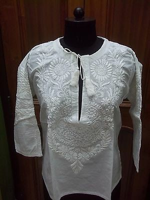 "Ethnic 100% Cotton Kurta Xl 44"" Handmade Top Chikan Embroidery Dress Kurti Tunic"