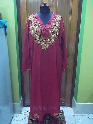 "100%cotton Top Dress Handmade Chikan Embroidery 4Xl 51"" Maxi Ethnic Blouse Kurta"