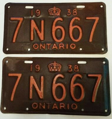 """Vintage Pair Of """"1938 Ontario Licence Plates 7 N 667"""" Very Good Condition- Solid"""