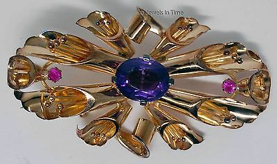 Deco Brooch 18k Rose Gold Amethyst and Ruby