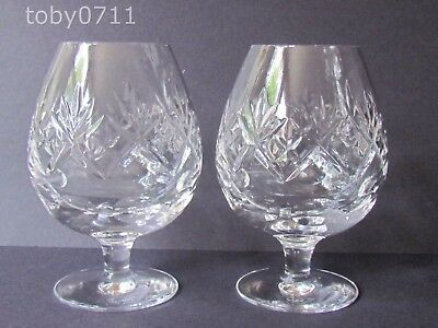 "ROYAL DOULTON CRYSTAL GEORGIAN PATTERN PAIR OF 4⅞"" BRANDY GLASSES (Ref2599)"
