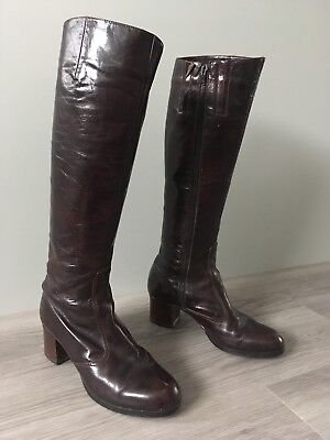 Vintage Brown Leather Knee High Boots UK 5