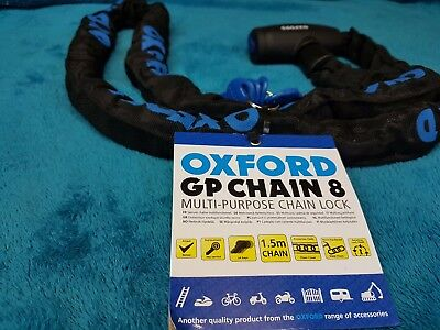 OXFORD GP 150CM CHAIN PAD SHACKLE LOCK MOTORBIKE CYCLE BIKE 8MM THICK 1.5 Metre