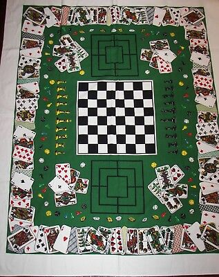 Vintage Card Game Tablecloth Cards Bridge Poker Chess Checkers Board New/Unused