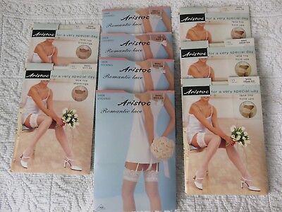9 PAIRS ARISTOC BRIDAL LACE TOP STOCKINGS & HOLD-UPS, ALL SMALL, WHITE/CREAM 10d