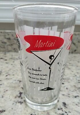 1950s Vintage Glass MIXED DRINK SHAKER Great Retro Graphics & Recipes Beefeater
