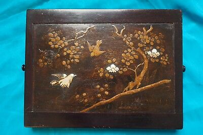 Japanese hardwood box, 19th century, lacquered, mother of pearl and hand painted