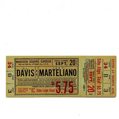 1940 Madison Square Garden Boxing Full Ticket Al Davis v Tony Marteliano