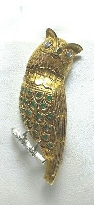 Vintage Owl Brooch pin 18k yellow gold Diamond & Emerald 14.8g MINT