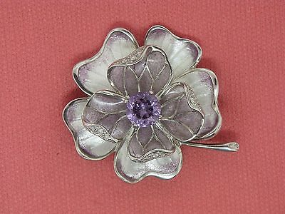 Sterling Silver Amethyst and Diamond Flower Pin