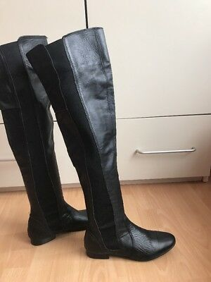 Dune Black Over Knee Soft Leather Boots Size 4/37