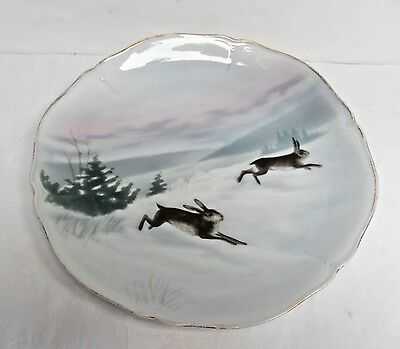 "FRIEDRICH KAESTNER, VINTGE PLATES, COUNTRY ANIMALS, ""PAIR of HARES"", VGC"