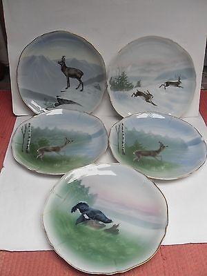 Friedrich Kaestner, 5 Vintage Plates, Country Animals, All Chipped - See Pics