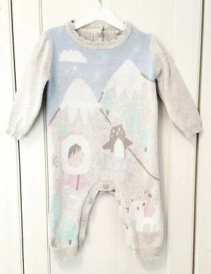 TU Knitted All in one 3-6 Months Grey Eskimo Romper Winter Outfit