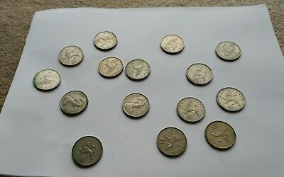 10p Ten Pence Old Large Type single coin