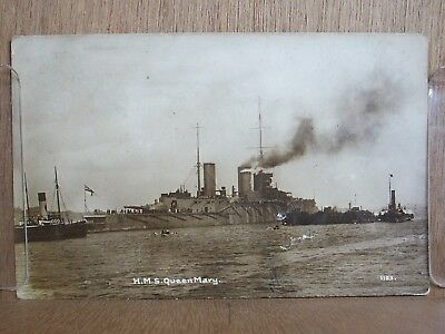 postcard warship h. m s queen mary. 1913.
