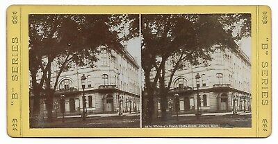 ~1880 Whitney's Grand Opera House DETROIT MI Stereoview FORT & SHELBY STS. EXC.